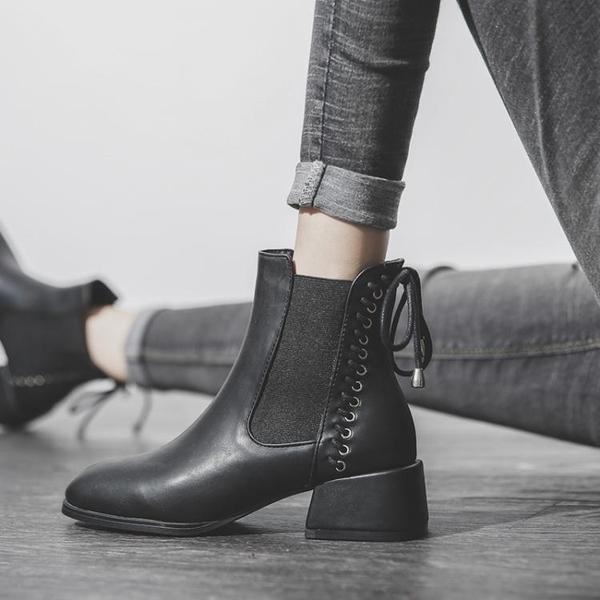 靴子切爾西短靴女粗跟中跟冬季2021新款秋冬厚款馬丁靴 童趣屋 免運