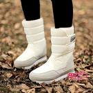 新品冬季加厚平底防水防滑保暖雪地靴女毛毛中筒短靴雪地棉鞋新年鉅惠