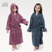 A類棉質毛巾料浴袍帶帽可拆男女大童加長版親子浴衣中厚四季 快速出貨