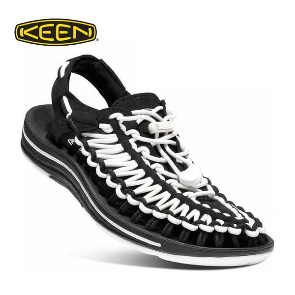 【KEEN 美國 女  編繩涼鞋《黑/白》】1019282/織帶涼鞋/輕量/戶外休閒鞋/運動涼鞋