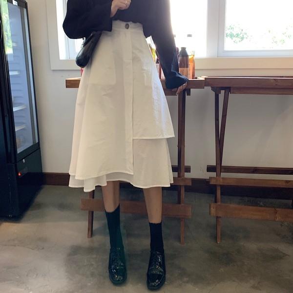 秋季中長款不規則顯瘦半身裙2020流行裙子高腰白色A字裙女裝氣質