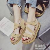 夏季新款韓版百搭羅馬涼鞋女平底學生鬆糕厚底魔術貼大碼女鞋     原本良品