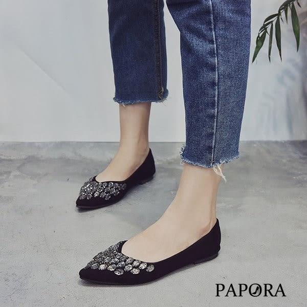 平底鞋.低調奢華亮鑽尖頭平底鞋【KBF16】黑