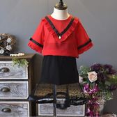 女童套新品韓版兒童大V領雪紡衫 拼荷葉網紗短裙兩件套