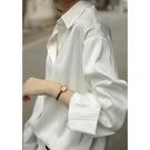 白色襯衫女設計感小眾復古港味上衣垂感襯衣絲光緞面寬鬆韓版職業  潮流衣館