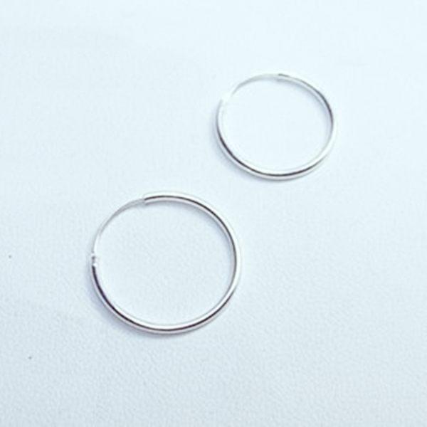 925純銀 素面極細 中耳圈扣耳環-20mm、16mm 防抗過敏 單支販售