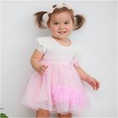 公主袖紗紗裙 女寶寶 立體玫瑰 連身裙 連衣裙 洋裙 Augelute Baby 52351