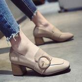 單鞋女高跟鞋2018新款女鞋子韓版粗跟小皮鞋