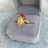 越南沙金貔貅戒指歐幣鍍金微鑲紅寶石戒指招財辟邪