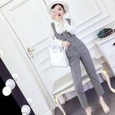 2018秋季新款韓版單排扣長袖襯衫 馬甲上衣 高腰直筒九分褲套裝女