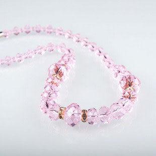 水晶串珠項鏈 粉色