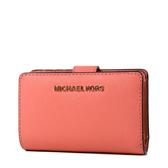 美國正品 MICHAEL KORS 玫瑰金字LOGO素面防刮皮革釦式中夾-珊瑚橘【現貨】
