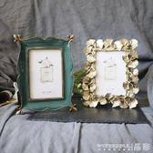 相框  復古手工樹脂墨綠色/金色銀杏葉6寸相框/相架/可掛 晶彩生活