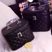 收納化妝包大小號可愛專業防水皮質高檔護膚品手提便攜旅行化妝箱 【PINKQ】