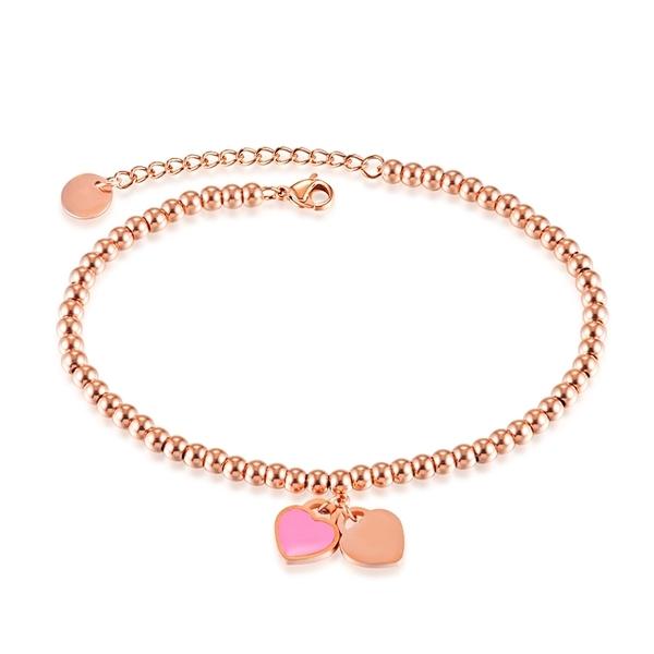 316L醫療鋼 粉色愛心與鎖 小圓珠腳鍊-玫瑰金 防抗過敏 不退色