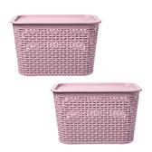 HOLA 米勒附蓋編織紋收納籃L-藕粉(2入組)