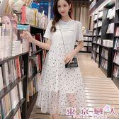 洋裝 韓版學院風圓點網紗T恤連身長裙★東京戀人MS.Q★8756