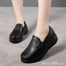 搖搖鞋 秋季小皮鞋女厚底黑色工作鞋防水一腳蹬皮面護士鞋軟底防滑搖搖鞋 618購物節