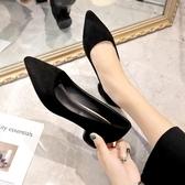 粗跟鞋 低跟工作鞋女黑色淺口尖頭中跟3cm單鞋女職業絨面全黑空姐鞋 - 雙十二交換禮物
