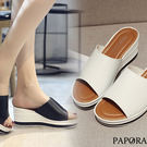 PAPORA時尚厚底楔型涼拖鞋KE5902黑/白(偏小)