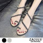 ZALULU愛鞋館 7FE025 閃耀燁燁亮片斜邊平底涼鞋-銀/黑-35-39