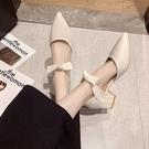 網紅尖頭粗跟單鞋女2021春秋新款百搭時尚中方跟高跟涼鞋夏瑪麗珍 pinkq時尚女裝