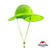 Naturehike 戶外百搭高防曬大帽簷輕巧可折疊遮陽帽 圓盤帽 螢光綠