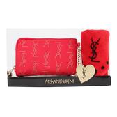 YSLLOGO飾鑚手機袋愛心圓點方巾禮盒組(紅色) 989208-113
