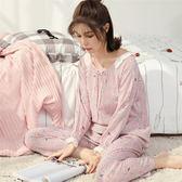 居家服女春秋季薄款長袖綿綢睡衣組女夏季棉質綢人造棉女睡衣組套組空調家居服