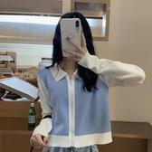 針織外套 秋裝2020年新款洋氣短款針織衫開衫外套ins設計感小眾長袖上衣女-米蘭街頭