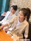 亞麻西裝外套女新款上衣韓版春夏白色小個子薄chic小西服棉麻套裝 極速出貨