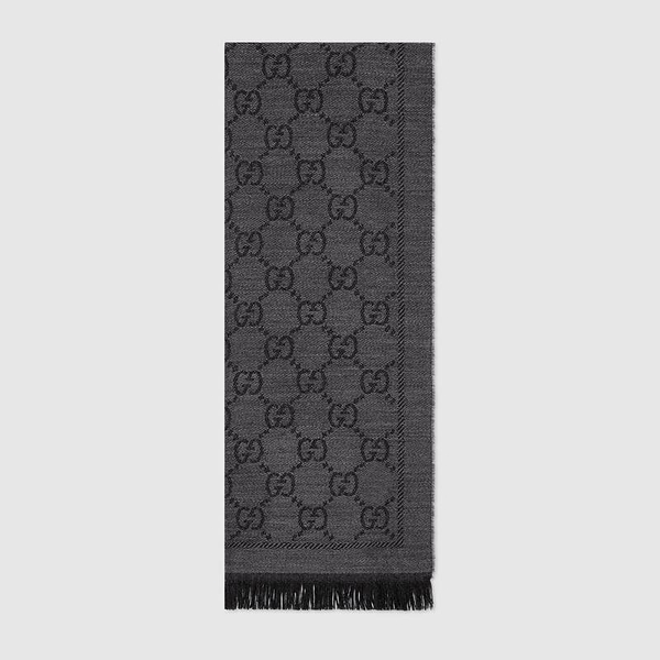 GUCCI GG jacquard pattern knit scarf 圍巾