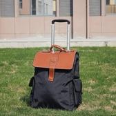 拉桿包 可雙肩背大容量拉桿包純黑色旅行箱多功能手提行李包拉桿登機箱YXS 優家小鋪
