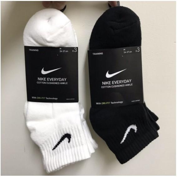 澤米/現貨 耐吉 NIKE 中筒襪 一組三雙 基本款 勾勾襪 運動襪 襪子 黑/白 薄/厚款