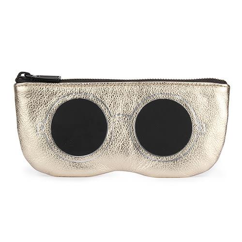 Rebecca Minkoff 眼鏡造型手拿包(白金底黑眼眶)220122-1