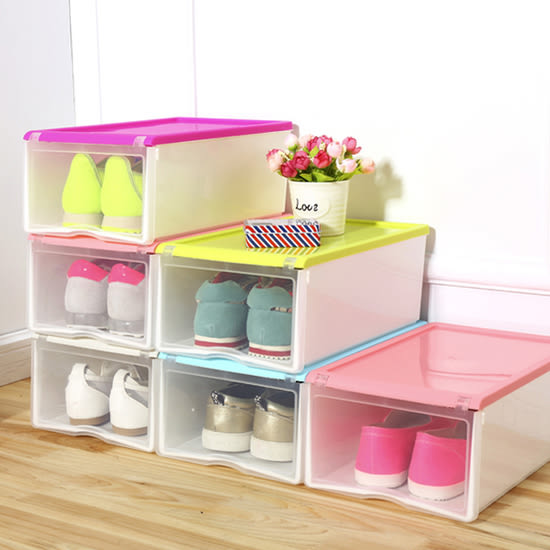 ♚MY COLOR♚組合式翻蓋加大鞋盒 透明 收納 置物 儲物 雜物 可疊加 加厚 抽屜式 加厚【R50】