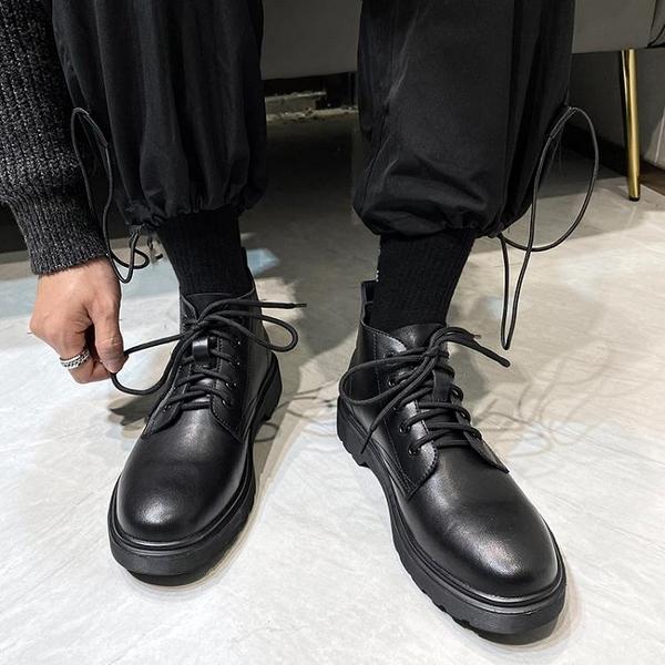 馬丁靴男款 ins馬丁靴男冬季低幫英倫風黑色工裝韓版百搭真皮中幫機車短靴子