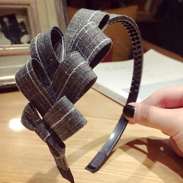 韓國氣質款格紋多層摺疊蝴蝶結髮箍 ACE0015