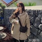 保暖外套女-秋冬韓版新款寬鬆中長款連帽寬鬆BF風加厚長袖風衣外套女學生 喵喵物語