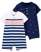 【美國Carter's】短袖純綿連身衣2件組 - 經典小紳士 #1H431510