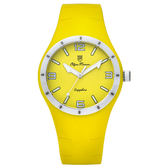 Olym Pianus奧柏表 真自我炫彩時尚運動腕錶-黃/38mm