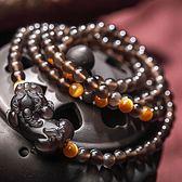 天 然冰種黑曜石貔貅 手鍊金虎眼原創設計多圈手串男女情侶手鍊