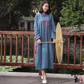 大尺碼洋裝大尺碼民族風女長袖棉麻寬鬆中式亞麻印花連身裙女 限時降價