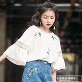 夏裝2019新款短袖t恤女裝ins潮寬鬆學生韓版小心機中袖夏天上衣服『韓女王』