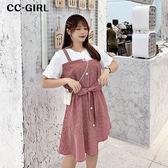 中大尺碼 假兩件格紋拼接短袖洋裝(附綁帶)~共兩色 - 適XL~4L《 68267 》CC-GIRL