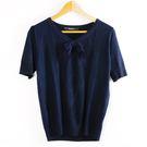 【MASTINA】甜美蝴蝶結針織上衣-藍...
