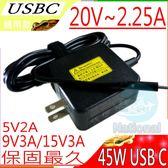 USB-C 45W 充電器-20V/2.25A,15V/3A,9V/3A,5V/3A,HP TPN-CA01,TPN-CA02,SPECT 13 X360,ELITE X2,1012 G1,USB-C
