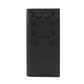 【COACH】C LOGO壓紋皮革對開長夾(黑色)F75365 BLK