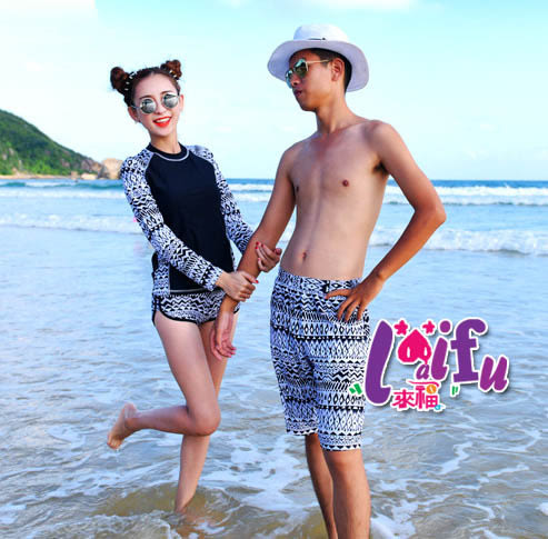 ★草魚妹★A118情侶泳衣男生單泳褲材質一件580元