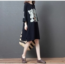 棉麻洋裝連身裙2015新款韓版大碼女裝寬松顯瘦圓領印花文藝純過肩短袖衛衣裙MA110依佳衣
